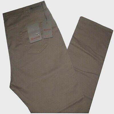 Ben Informato Pantalone Uomo Jeans Taglie Forti 62 64 66 68 Holiday Gabardin Strech Fango Frod Materiale Selezionato