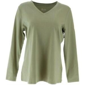 Denim-amp-Co-Essentials-Jersey-V-neck-Long-Sleeve-Top-Green-Size-Large-L