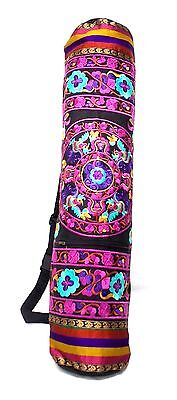 Yoga Mat Bag Embroidered Pink Black