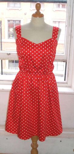 Baylis Knight Red White Spotty  SUMMER Sweetheart Pin Up  50/'s Sun Dress