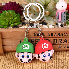 New Super Mario Face Rubber Red Colo Keyring Cute Keychain Party Gifts