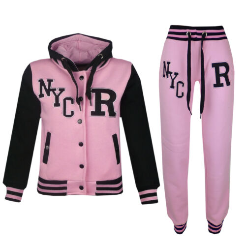 Kids Girls Boys Baseball Tracksuit NYC Jacket Trouser Hoodie Bottom Joggers 1-14