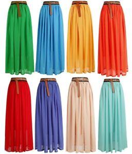 Women-Loose-BOHO-Gypsy-Chiffon-Long-Full-Skirt-Maxi-Beach-Dress-Colorful-Lng