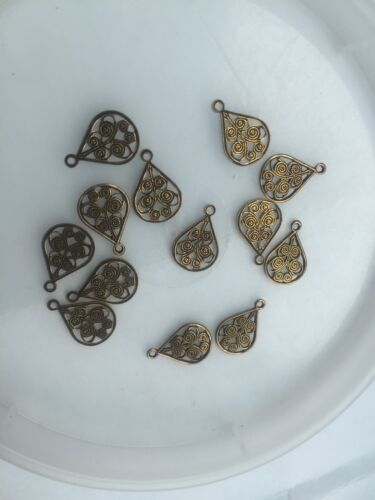 Haskell Bras Open Scroll Filigree Pear Tear Drop Shape Stamp Charms Vintage M