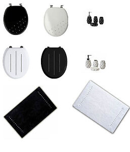 Diamante Wooden Mdf Wc Toilet Seat Bathroom Mat Accessory Set