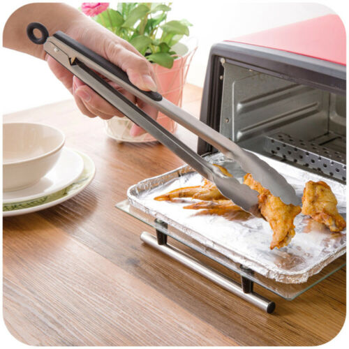 Kitchen Tongs Silicone Cover BBQ Clip Stainless steel Food Salad Tongs Kitchen
