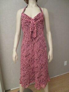 Talbots Women's Size 8 Dress Silk Floral Halter Pink Brown Floral Empire Waist