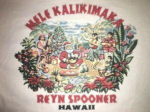 VTG-Reyn-Spooner-M-Shirt-Mele-Kalikimaka-Christmas-Hawaiian-Santa-Hawaii-Medium