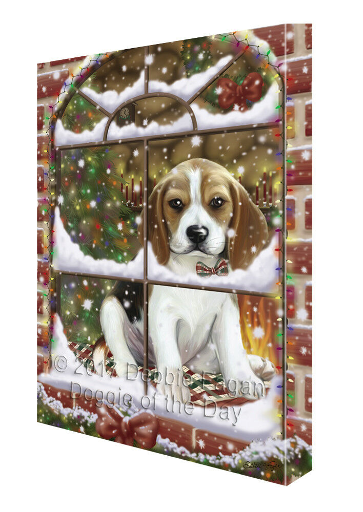 Please Come Home For Christmas Beagles Dog Sitting In Window Canvas Wall Art
