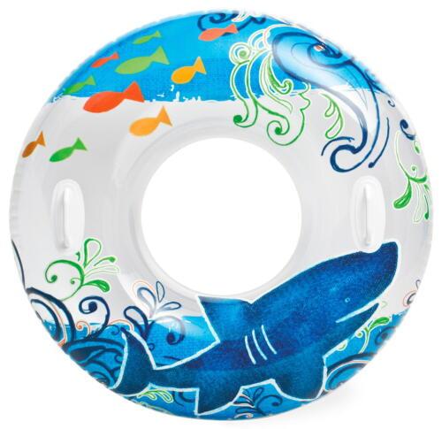 Großer XXL Schwimmring zwei Griffe Schwimmreifen Wasserreifen Wasserring Hai