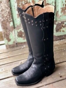 f5fa4e4ca93 Details about Tony Lama Women's Black Tripoli Studded Zip Up Tall Western  Boots VF3050 SALE!!