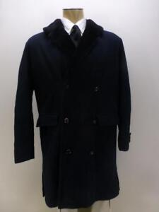 Vtg-LAKELAND-thk-double-breasted-wool-herringbone-sherpa-winter-Coat-Medium-40