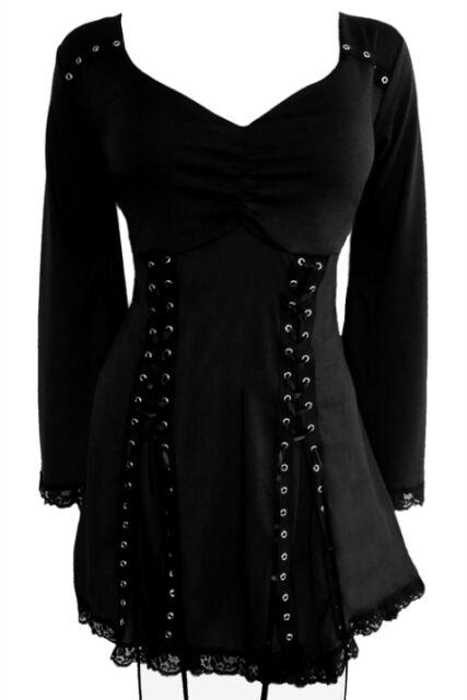 Plus Size Gothic Renaissance Electra Corset Top in Black Raven 1X 2X 3X 4X 5X