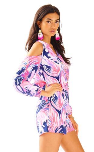 Lilly Pulitzer Elsa Sunny Cold Shoulder Paradise Point Silk Short Romper XL $198