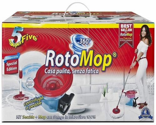 Rotomop Roto Mop Superfive Mocio Rotante In Microfibra Con Secchio Strizzatore