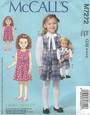 """McCall/'s 8542  Girls/' Jumper Petticoat /& Match 18/"""" Doll Clothes Blouse"""