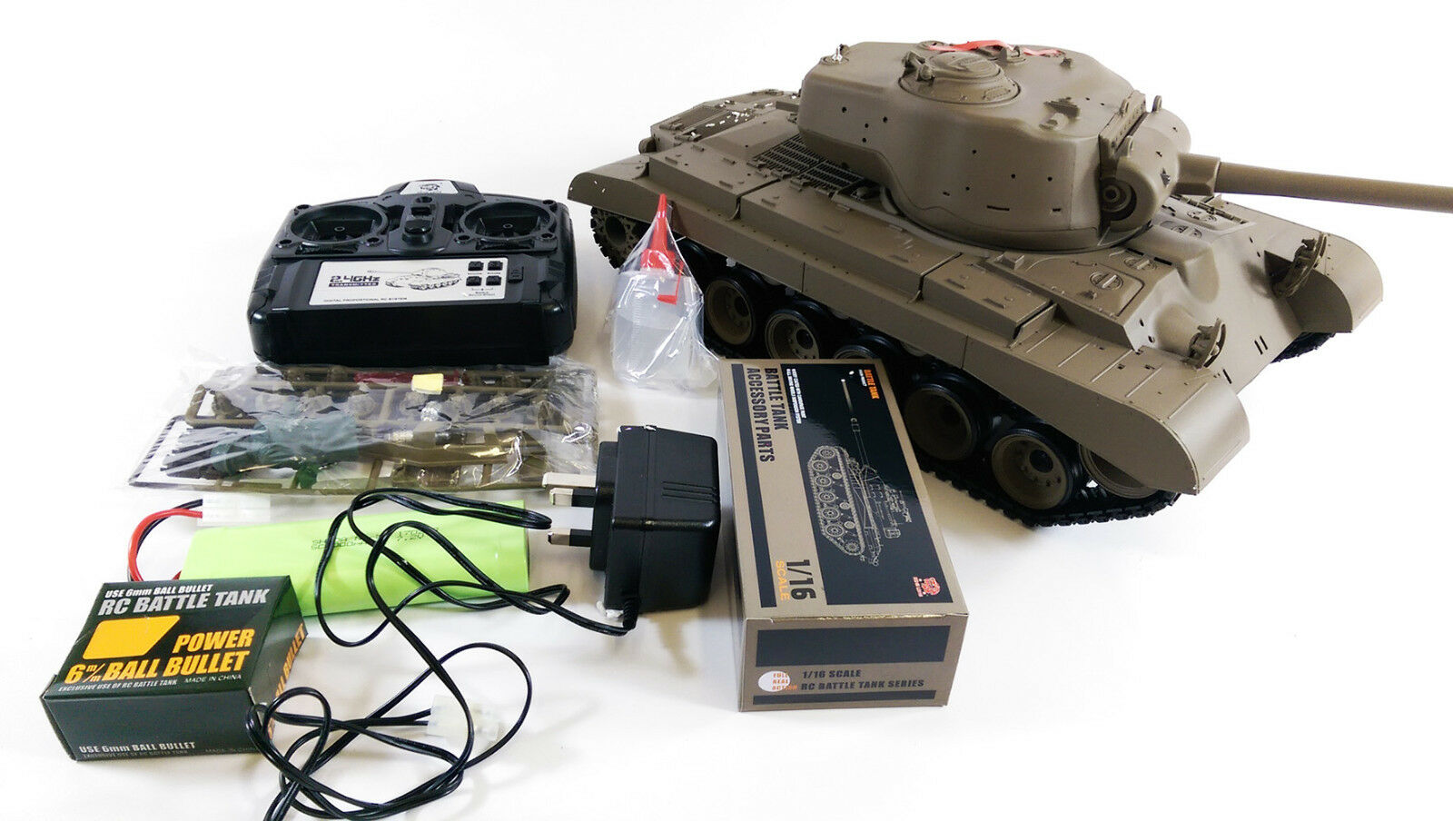 NEW  UPGRADED 2.4GHZ SMOKE SOUND HENG LONG RC US M26 Pershing Snow Leopard Tank
