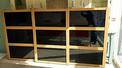 New 3x Sliding Wardrobe Black Glass 'shaker' Doors To Suit 1522h X 2784mm W Furniture