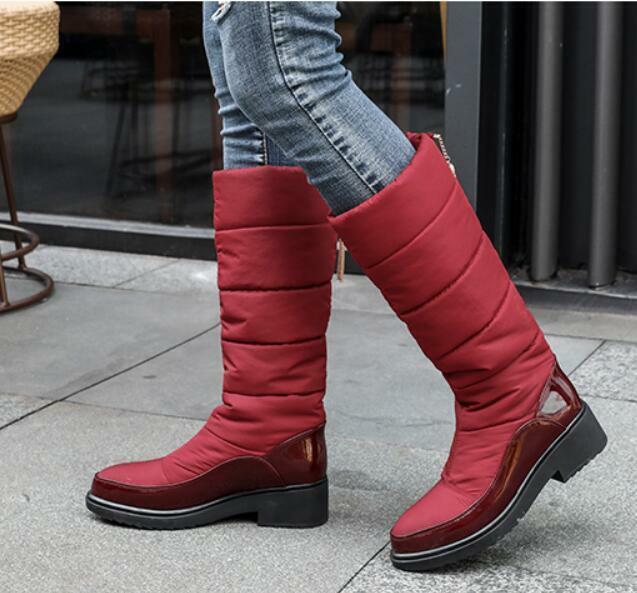 Womens Wine Knee High Boots Fur Lined Winter Snow shoes Pull On Casual Heels V61