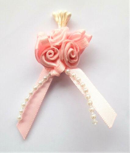 Cinta de 4 con flores y perlas Rosa .