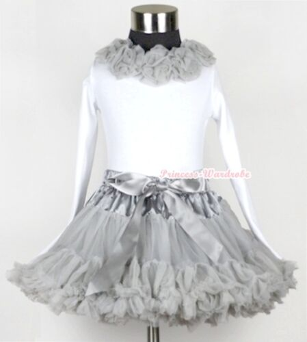 Silver Grey Full Pettiskirt with Silver Grey Rosettes Long Sleeve Top 1-8Year
