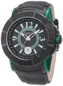 Stuhrling-Original-543-332P571-Swiss-Sentry-Black-Green-Leather-Strap-Mens-Watch