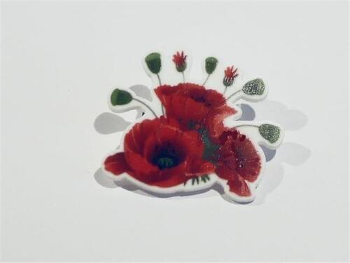 libre de Reino Unido P/&p CG2308 Láser Cortar Amapola Roja Broche.
