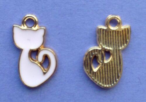 Tiny émail Rose Cat Charms-miniatures Bijoux 5pcs 14 mm Métiers
