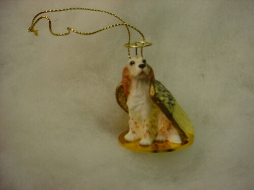ENGLISH SETTER dog ANGEL Ornament Resin FIGURINE Christmas Orange Belton puppy