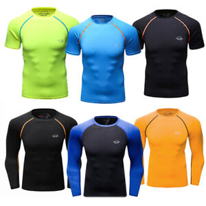 Mens Athletic T-Shirt Compression Long Sleeved Basketball Activewear Top Crew