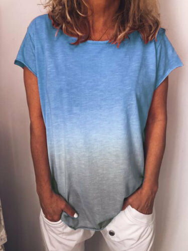 Plus Size Women/'s Gradient Casual Loose Summer Short Sleeves Tops T-Shirt Blouse