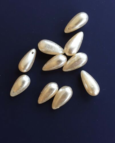 Vintage Beads 10 Faux Pearl Glass 15mm Teardrop Beads