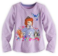 Disney Store Sofia The First Polka Dot Girls Long Sleeve Tee Shirt Sz Xs S M