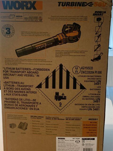 WORX WG591 56V Cordless Turbine Leaf Blower (Kit with Battery )