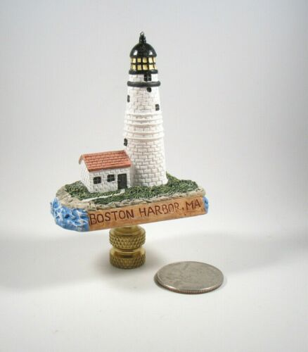 Lamp Finial Resin Lighthouse Boston Harbor MA Lampshade Topper LH1