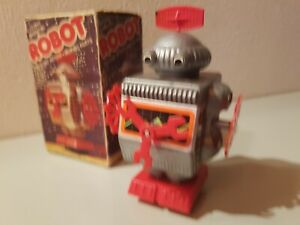 Tin-Toy-Plastic-1970-039-s-Hong-Kong-Battery-operated-ROBOT-Mint-in-original-box