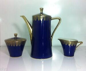 ANTIQUE KM ROYAL PORZELLAN BAVARIA GERMANY COBALT GOLD TEAPOT SUGAR BOWL CREAMER