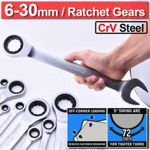 Cle-Plate-a-Cliquet-Metrique-Reversible-Outil-Ecrou-Chrome-Taille-6-30mm-Argent