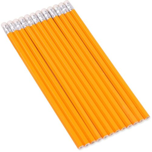 12x YELLOW HB PENCILS WITH ERASER TOP School Office Stationery Writing Drawing