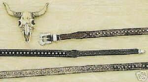 HAIR-HATBAND-Leather-Silver-Studs-Western-Cowboy-Hat-BLACK-or-BROWN