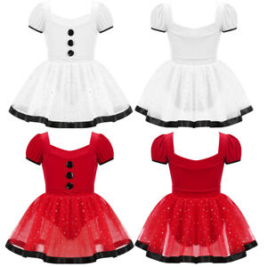 Girls-Kids-Skating-Christmas-Ballet-Dance-Dress-Leotard-Tutu-Dancewear-Costume