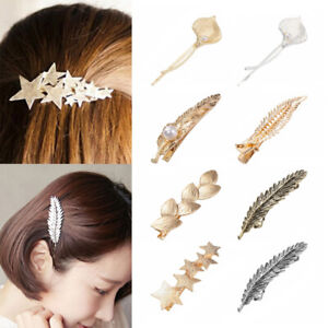NEW-Vintage-Pearl-Leaf-Hair-Clips-for-Women-Metal-Hairpins-Gold-Stars-Barrettes