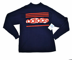 Details about NOS NWT Adidas USA Made 80's vtg Trefoil Pullover LS T Shirt Large Blue Red
