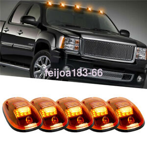 image is loading 5pcs-roof-cab-marker-clearance-amber-12-led-