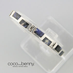 Vintage-Mexican-80s-Mexican-Sodalite-Sterling-Silver-Taxco-Bracelet-Inlay