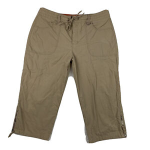 GLORIA VANDERBILT Women 12 Petite Capri Cropped Pants Pockets ZIP Leg Tan