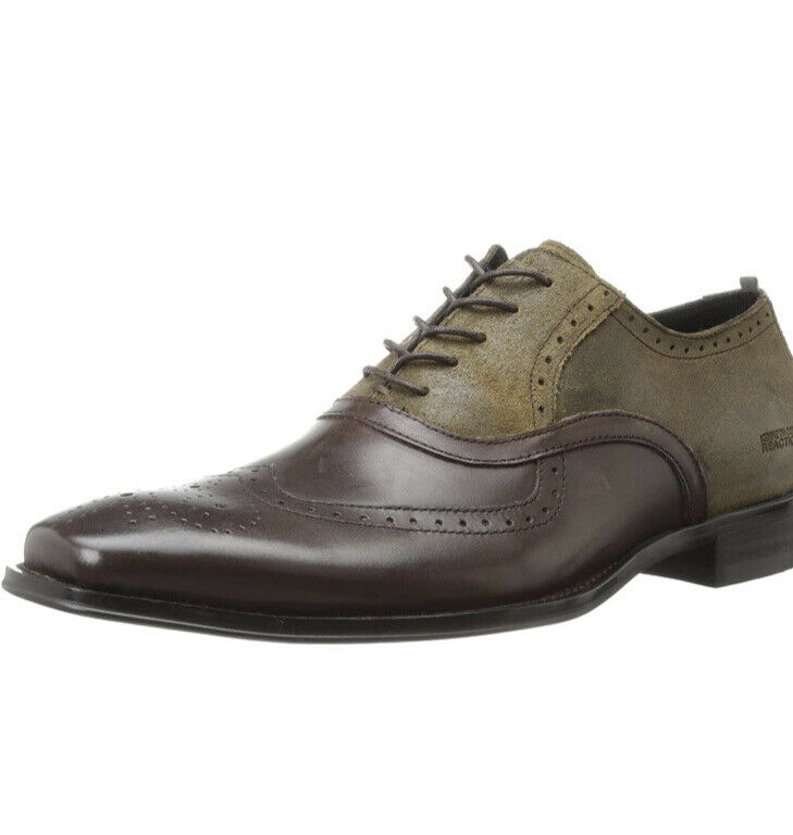 Kenneth Cole REACTION Men Trick Play Wing Tip Oxford brown leather 7.5 Shoes