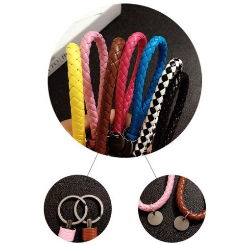 Unisex Keychain Leather Rope Strap Weave Keyring Key Chain Ring Key Fob