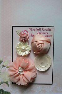 HANDMADE-5-Flowers-PEACH-IVORY-Mix-Organza-Satin-Fabric-30-70-mm-Njoyfull-Crafts