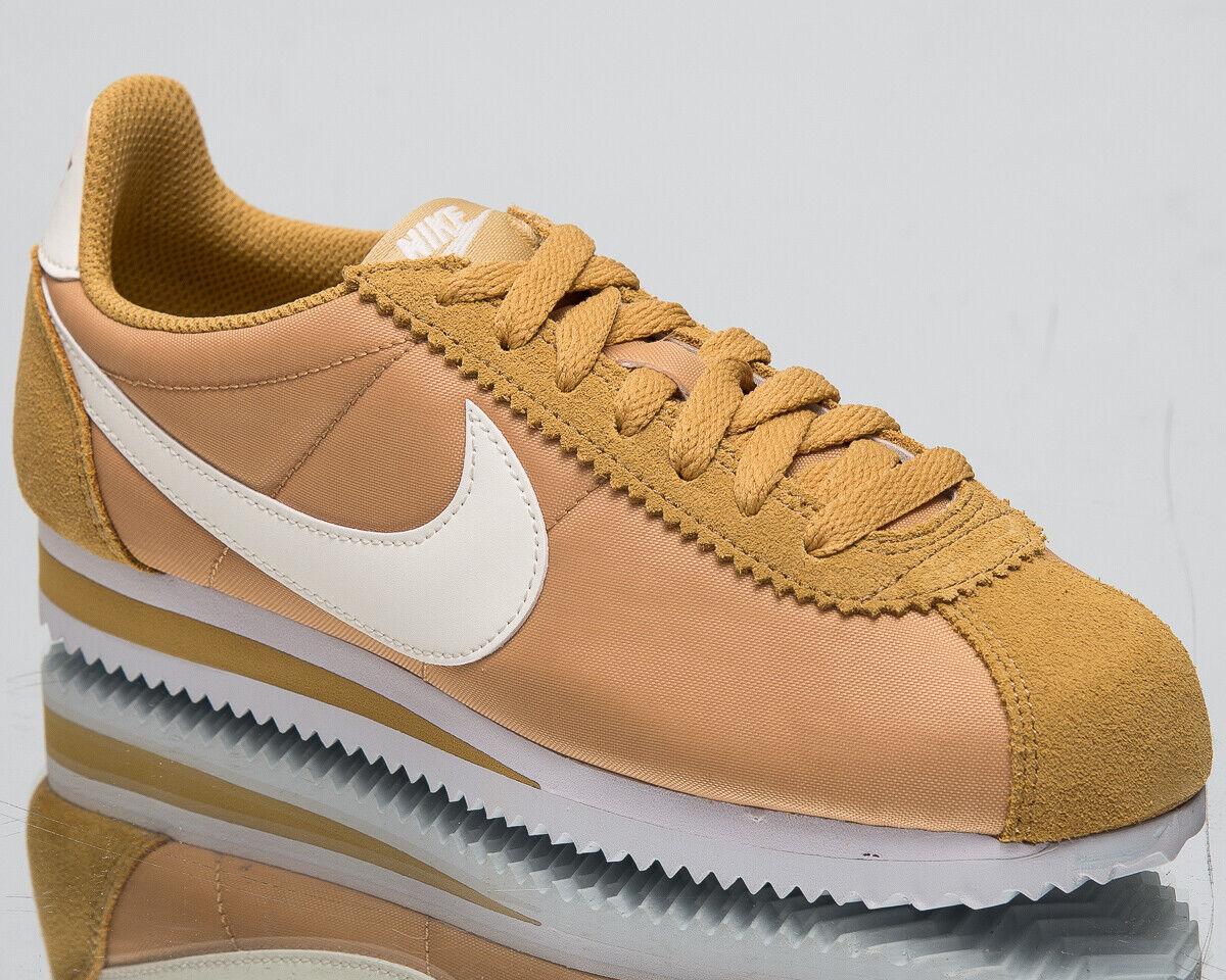 Nike Klassisch Cortez Nylon Damen Neu Gold Segel Weiß Freizeit Turnschuhe